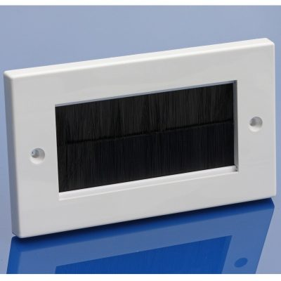 Double gang brush strip plate - BLACK brush strip
